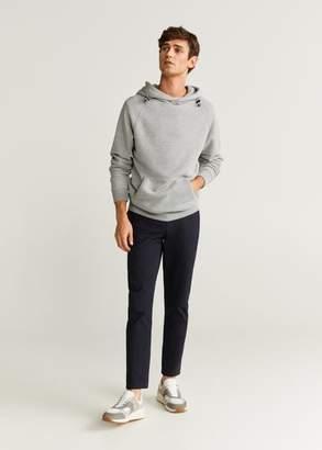 MANGO MAN - Kangaroo pocket hoodie medium heather grey - XS - Men