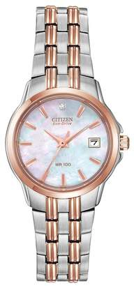 Citizen Women's Eco-Drive Diamond Accent Two-Tone Stainless Steel Bracelet Watch, 26mm - 0.0053 ctw