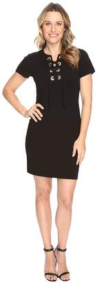 Vince Camuto Short Sleeve Dress with Front Grommet Lace-Up Women's Dress
