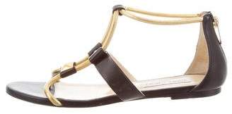 Jimmy Choo Leather Metallic-Accented Sandals