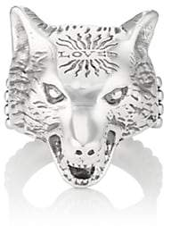 Gucci Men's Anger Forest Wolf-Head Ring - Silver