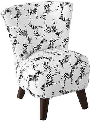 One Kings Lane Barnes Kids' Chair - Black/White Linen
