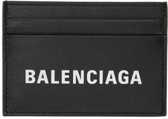 Balenciaga Black Everyday Logo Card Holder