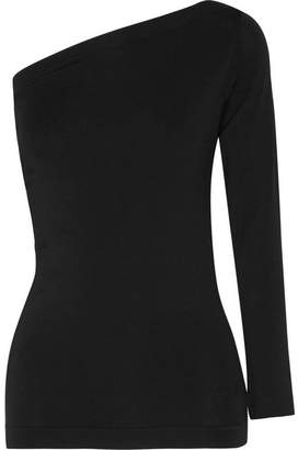 Helmut Lang - One-shoulder Stretch-jersey Top - Black $160 thestylecure.com