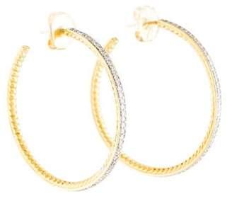David Yurman 18K 2.22ctw Diamond Thoroughbred Hoop Earrings