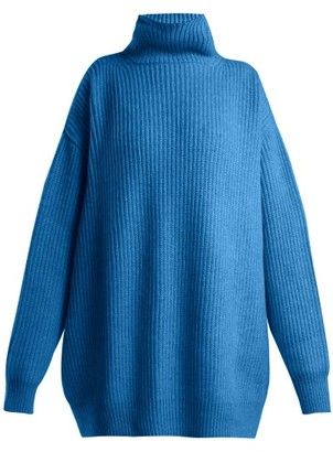 Raey Displaced Sleeve Ribbed Roll Neck Wool Sweater - Womens - Blue