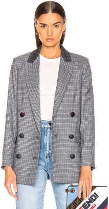 Rag & Bone Ellie Check Blazer in Light Grey & Blue Check | FWRD