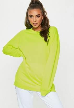 Missguided Yellow Neon Oversized Sweatshirt