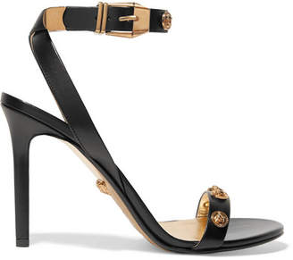 Versace Embellished Leather Sandals - Black