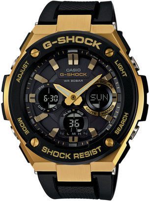 G-Shock Men's Analog-Digital Black and Gold Black Silicone Strap Watch59x52 GSTS100G-1A $280 thestylecure.com