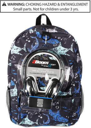 Fab Little & Big Boys Shark-Print Backpack & Headphones
