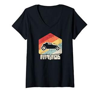 Womens Retro - Rat Rodding Custom Car Builder Mechanic / Rat Rod V-Neck T-Shirt