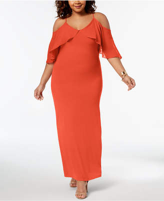 NY Collection Plus Size Chiffon Cold-Shoulder Maxi Dress