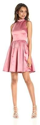 Paris Sunday Women's Sleeveless Sateen Mockneck Fit and Flare Dress