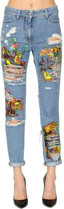 Jeremy Scott Los Exitos Print Cotton Denim Jeans