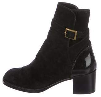 Chanel Suede Square-Toe Ankle Boots
