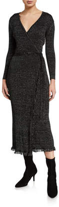 Diane von Furstenberg Bobbi Ribbed Metallic Wrap Dress