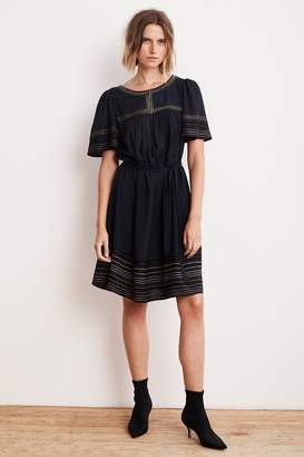 Velvet by Graham & Spencer BEATRIX LUREX EMBROIDERED VISCOSE BELTED DRESS