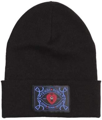 Fendi Logo Patch Wool Blend Knit Beanie Hat