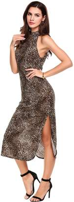 ANGVNS Women's Sleeveless Side Slit Bodycon Casual Cocktail Leopard Print Dress