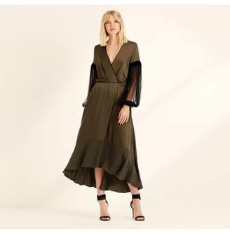 Amanda Wakeley Khaki Viscose Satin Statement Sleeve Dress