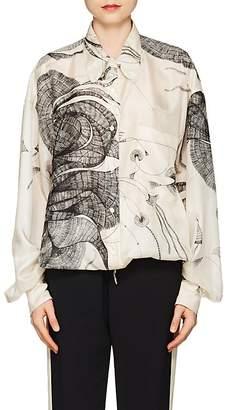 Dries Van Noten Women's Sketch-Print Silk Blouse