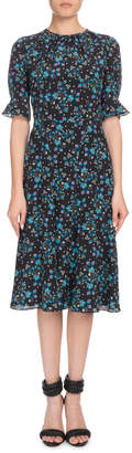 Altuzarra Short-Sleeve Floral-Print A-Line Silk Crepe de Chine Midi Dress