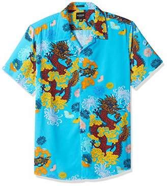 GUESS Men's Short Sleeve Dragon Blossom Print Shirt