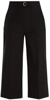 Redvalentino - Buckle Detail Wide Leg Cropped Trousers - Womens - Black