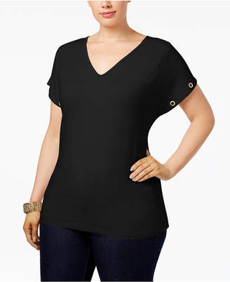 Justice Poetic Trendy Plus Size French Terry Crossover-Back Top