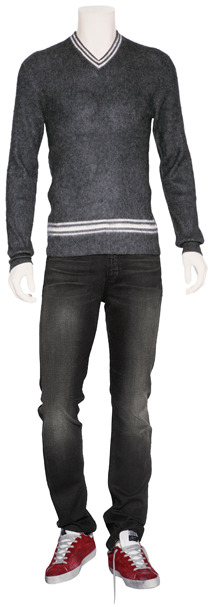 Marc by Marc Jacobs Dark Grey Heather/White Silk-Cashmere V-Neck Pullover
