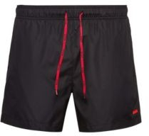 Quick-dry swim shorts with rubber logo badge