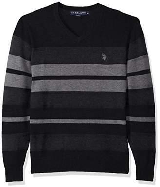 U.S. Polo Assn. Men's Stretch Textured Stripe V-Neck Sweater