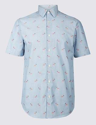Marks and Spencer Slim Fit Flamingo Print Shirt