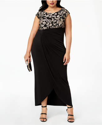 Connected Plus Size Lace Faux-Wrap Gown