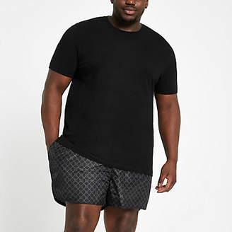 River Island Big and Tall black RI monogram swim shorts