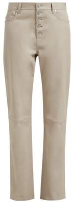Joseph Den High Rise Leather Trousers - Womens - Light Brown