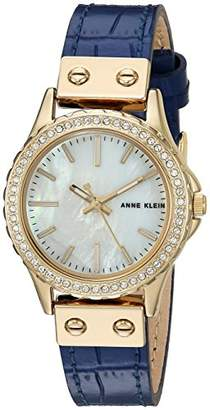 Anne Klein Women's AK/3250MPDB Swarovski Crystal Accented Gold-Tone and Dark Blue Leather Strap Watch