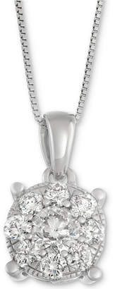 Macy's Diamond Pendant Necklace in 14k White Gold (1 ct. t.w.)