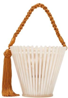 Montunas Lirio Trellis Pearlescent Acetate Bucket Bag - Womens - White Multi