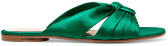Gianvito Rossi Knotted Satin Slides - Emerald