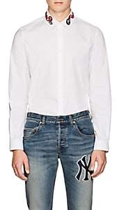 Gucci Men's Snake-Embroidered Cotton Poplin Shirt - White