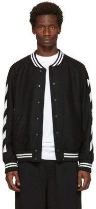 Off-White Black Diagonal Brushed Varsity Jacket $1,190 thestylecure.com