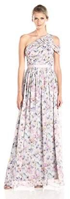 Donna Morgan Women's Chloe Floral Drape Shoulder Gown