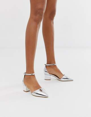 Raid RAID Julia silver ankle cross strap mid heeled shoes