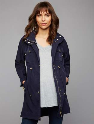 A Pea in the Pod Zip Front Cotton Woven Maternity Jacket