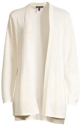 Eileen Fisher Seersucker Silk & Organic Cotton Cardigan Sweater
