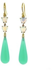 Irene Neuwirth Heart Opal and Chrysoprase Drop Earrings - Yellow Gold