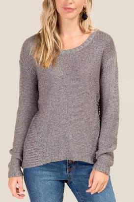 francesca's Nichole Hi Low Hem Sweater - Gray