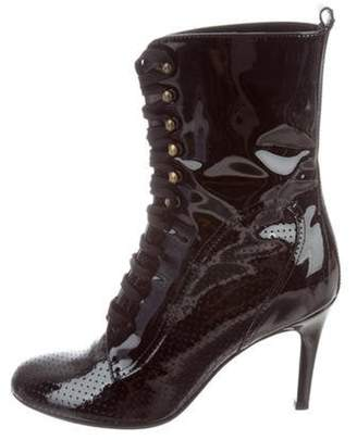 Chanel Patent Leather Round-Toe Ankle Boots Black Patent Leather Round-Toe Ankle Boots